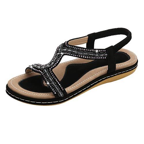 VJGOAL Damen Sandalen, Frauen Mädchen böhmischen Mode Flache beiläufige Sandalen Strand Sommer Flache Schuhe Frau Geschenk (37 EU, Z-Linie-Schwarz)