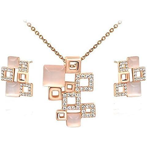 Da donna placcato oro rosa 18kt e cristalli ovali pavimentazione quadrato combinazione Collana con ciondolo e orecchini