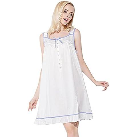Jinyufeng Donne Camicia da Notte Collo Square è Senza Maniche Bianco DK3002 (L/XL)