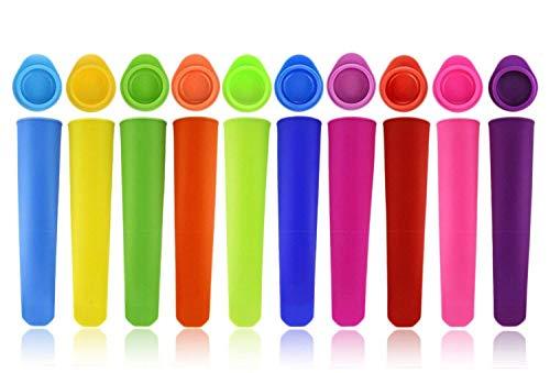 Joyoldelf 10er-Set Eis am Stiel Formen - Wiederverwendbare Stieleisformer aus 100% Lebensmittelsilikon - BPA Frei - Perfekt für Kinder und Erwachsene