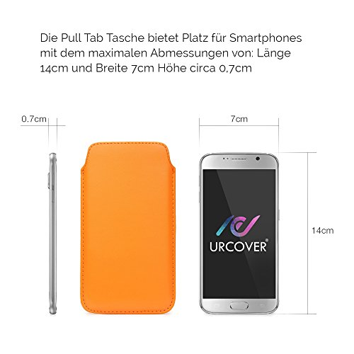 Original Urcover® Universal Schutzhülle [DEUTSCHER FACHHANDEL] Hülle Schale Pull Tab Etui Cover case Galaxy S7, S6, S6 Edge, iPhone 6 / 6s Grün Orange