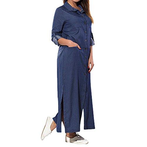 ZEZKT-Mode Denim Solid Casual Blusenkleid   Beiläufige Jeanskleid   Freizeit Jerseykleid   Gestickte V-Ausschnitt Reizvolles Etuikleider Festliches Tank Tops Shirt