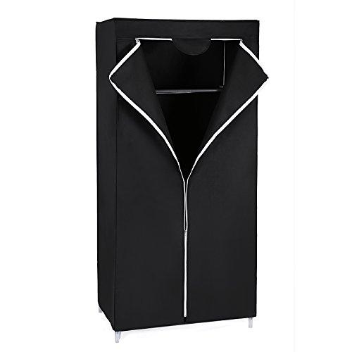 Songmics Garderobe Stoffschrank Faltschrank Kleiderschrank Campingschrank 160 x 75 x 45cm schwarz RYG83H (Leinwand Drucken Stoff)