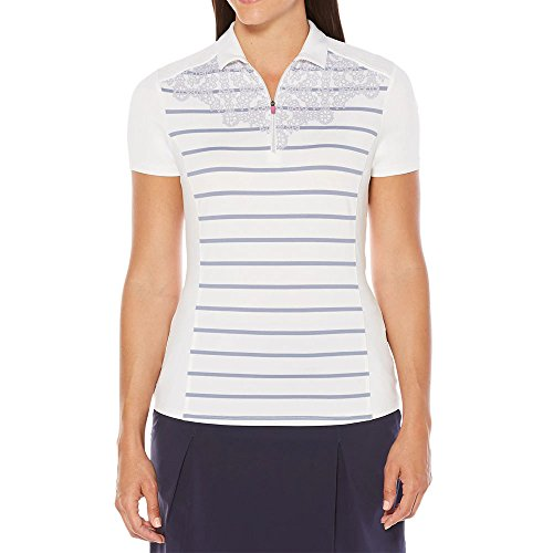 Callaway Opti-Vent Engineered Stripe Polo Golf Shirt, Bright White, Small -