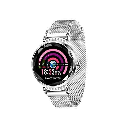 ZLOPV Intelligente Uhr Fashion Smart Watch WomenFitness Tracker Bracelet Heart Rate Monitor Blood Pressure Smartwatch Pedometer Multi Sport Mode,Silver Force Transducer