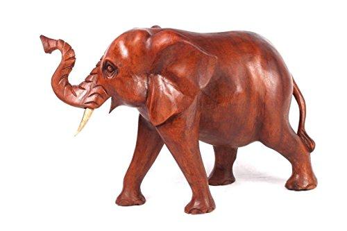 Elefante 30cm de madera de Suar auténtico trabajo manual figura