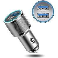 Fansport Cargador De Coche Multifuncional Puerto USB Dual Cargador RáPido Adaptador De Cargador De Coche