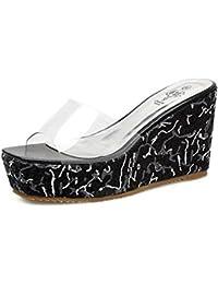 Easemax Damen Modisch Peep Toe Keilabsatz mit Bunt Muster Durchsichtig Pantoffeln Rot 38 EU DOIyWdCneW