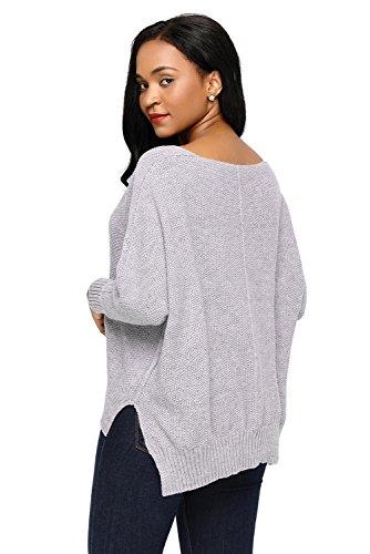 AN-LKYIQI Maglioncino da donna con felpa oversize a taglio alto e basso per autunno e inverno Gray