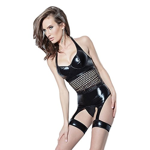 CHEN Babydoll Frauen Jumpsuit Lackleder Hohl Sexy Dessous Bandagen Bundle Black Nightclub DS Party Kostüm, Black