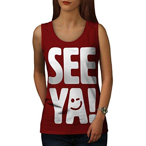Sehen Ya Cool Drucken Komisch Smiley Gesicht Damen S-2XL Muskelshirt | Wellcoda Rot