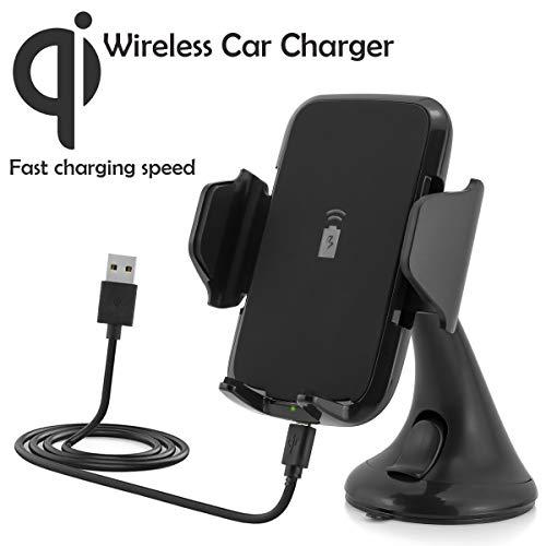 Wireless universale caricabatteria da auto supporto con Qi funzione di ricarica per Apple iPhone X, 8, 8 Plus / Samsung Galaxy Note 8, S8 S8+, S7, S7 Edge / LG G6, G4 / Microsoft / Motorola, etc.