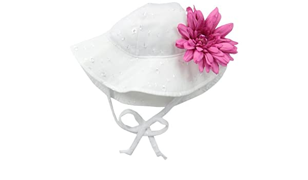 Floppy Hat with Flower Flap Happy Baby Girls Upf 50