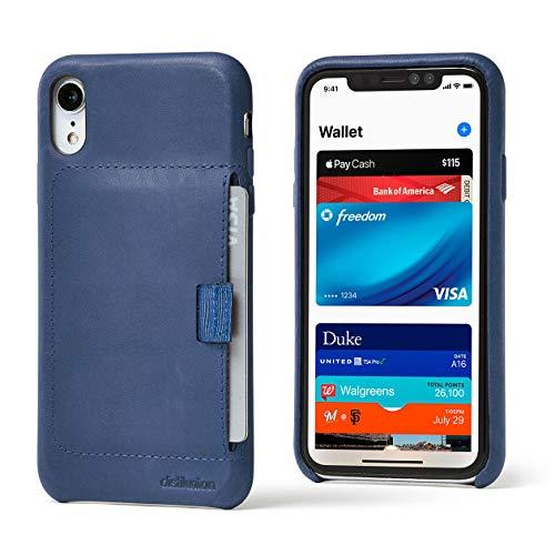 Distil Union Wally Schutzhülle für iPhone, Echtleder, mit schlankem Geldbeutel, für Ausweise und Kreditkarten, iPhone XR, Navy