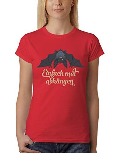 clothinx Damen T-Shirt Fit Halloween Grusel Fledermaus Einfach Mal Abhängen Rot Gr. M (Spooky Vampir Kostüm)