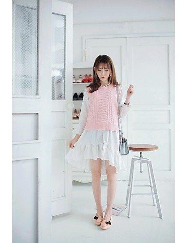ShangYi gyht Scarpe Donna - Ballerine - Casual - Comoda / A punta - Piatto - Finta pelle - Nero / Rosa / Bianco Pink