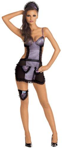(Roxana Dienstmädchen Kostüm mit Haupe Strumpfband und String Gr.XL, 1 Stück)