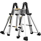 ZAQI Scale telescopiche Scaletta allungabile in Alluminio Pieghevole Professionale, Scala telescopica Multiuso con Ruote/Barra stabilizzatrice, Portata 150 kg (Size : 3.3m+3.3m=6.6m(22 ft))