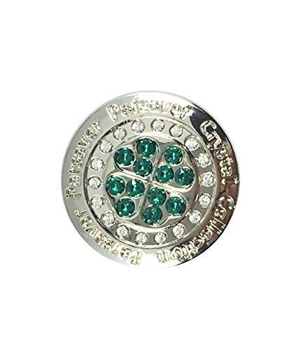 Parsaver Swarovski-Kristall-Golf-Ball-Marker - mit Hut Belt Clip - Kleeblatt - Kleeblatt-Design - unvergleichliche Brillanz und Glanz auf den Grüns -