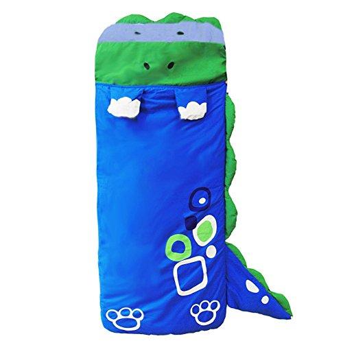 DINGANG großer Kinder-Schlafsack mit Kissen im Cartoon-Design für Mädchen und Jungen, Schlafsack, 140 cm x 60cm blau
