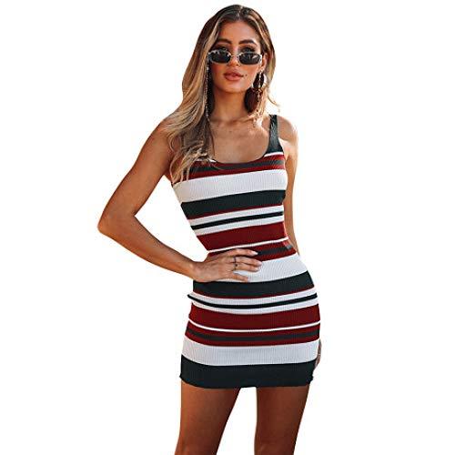 HHFF Kleid 2019 Frühling und Sommer Frauen dreifarbig gestreiftes dünnes sexy Kleid Strickkleid (Strickkleider Für Frauen)
