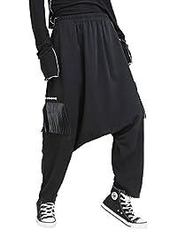ELLAZHU Women Fashion Black Elatic Waist Drop Crotch Casual Tassel Pants GY1537 A