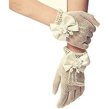 SwirlColor Sólo para chicas cortos elegantes satén arco agujeros Guantes Mallas muñeca Longitud Guantes Para las muchachas de flor