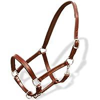 Festnight Cabezada de Cuero Ronzal/Cabestro de Cuero Ajustable Para Caballo (Estándar) Protección y Seguridad Marrón