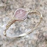 21 1/2# Anillo original de plata de ley 925 hecho a mano con piedra de cuarzo rosa genuino original 5# (9# - 26 1/2# disponible)
