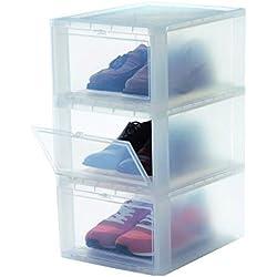 Iris Ohyama, set - 3 boîtes à chaussures / boîtes de rangement pour chaussures - Drop Front Box - EUDF-M, plastique, transparent, 14 L, 35,5 x 28 x 18 cm