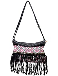 Printed Black Sling & Cross Body Bag With Fringes For Women & Girls By Bagris GE01001867