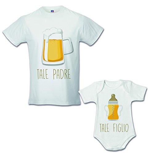 Idea regalo coppia di t-shirt papa' figlio tale padre tale figlio - birra bianche uomo l - bimbo 1 mese