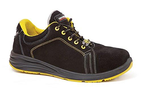 Sicherheitsschuhe Giasco Modell Widder S3, Wildleder WRU Hinterteil. Futter-Gewebe atmungsaktiv und abriebfest. Schuhe mit Gewebeeinlage reflektierend. Zunge weich, gefüttert und gepolstert. Schwarz