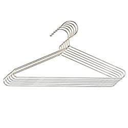 Embassy Stainless Steel Rust-Proof Shirt Hangers, Pack of 6 - 36x19 cms