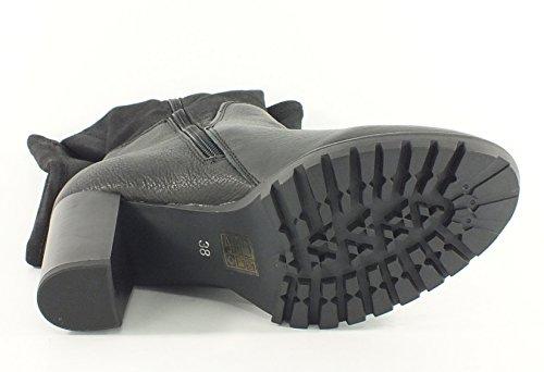7113 SPM stretch Leder Stiefel schwarz Schwarz