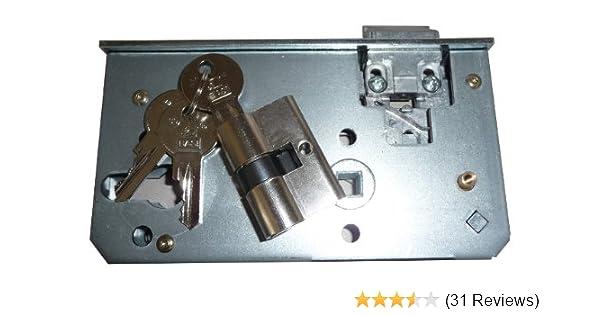 Schlosseinsatz SET Schlie/ßzylinder mit 3 Schl/üsseln Dr/ückergarnitur f/ür Garten-Tor Einfahrtstor