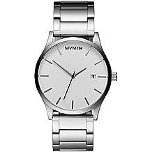 MVMT Herren Watch Uhr White/Silver gebürstetes Edelstahl Armband MC01WS