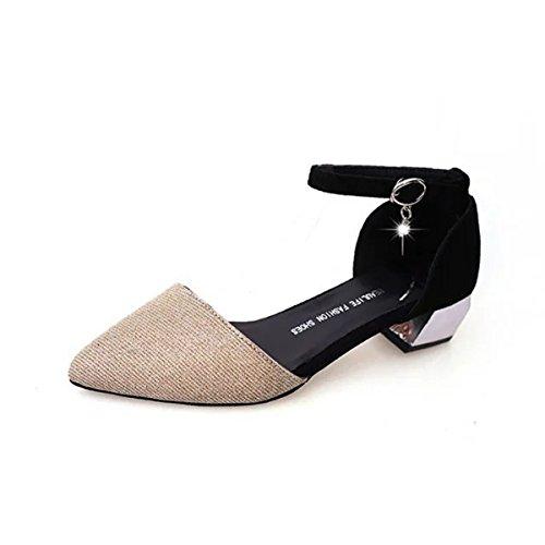 Damen Sandalen Spitz Zehen Pailletten Blockabsatz Strass Schnalle Anti-Rutsche Tragen Elegant Schuhe Gold