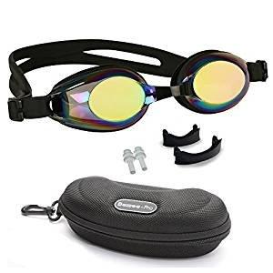 Schwimmbrille Kinder Rutschfest Lecksicher Silikon-Kopfriemen Gespiegelte Farbige Linse für Kind Taucherbrille Kleinkinder Beinhaltet Einstellbarer Nasensteg Ohrstöpsel & eine Attraktive Tragetasche