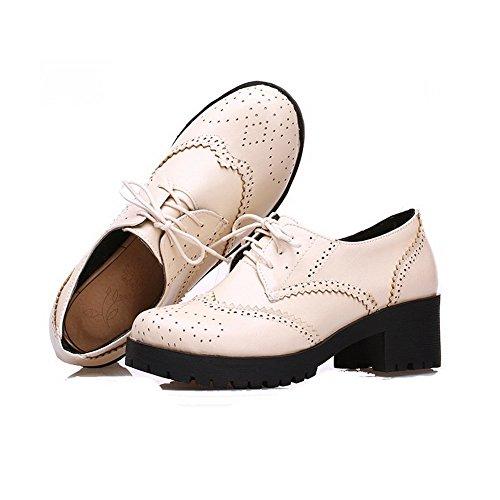 VogueZone009 Damen Weiches Material Rund Zehe Mittler Absatz Schnüren Rein Pumps Schuhe Cremefarben