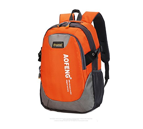 WTUS Unisex Outdoor Freizeit Sport Schultertasche Wasserdicht Ultra-Leichte Reitrucksack Nylon Wanderrucksäcke Orange