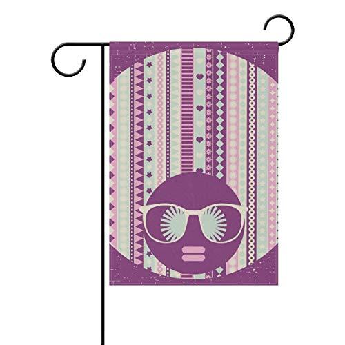 (Dozili-Flagge, Hippie-Frau mit eigenem Haar, Dekoration für den Garten, wetterfest und doppelseitig, Polyester, bunt, 12.5