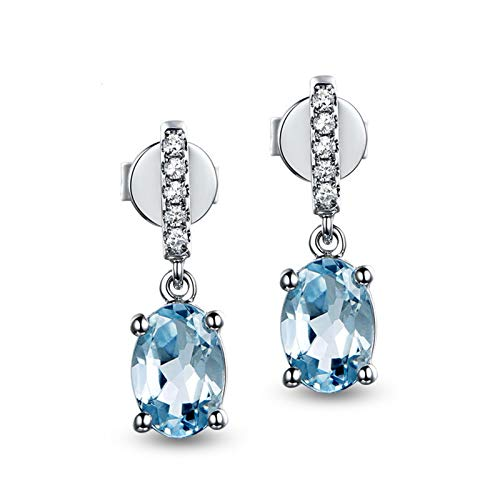 Anwaz Damen Ohrringe mit Oval Anhänger in 925 Sterling Silber Blau Topas Damenohrstecker Abendschmuck Blau -