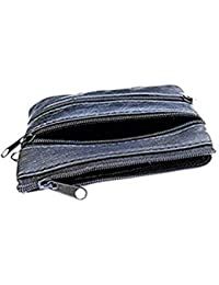 Soft Leather 4 Zips Key Holder, Card and Coin Purse with Single Card Case