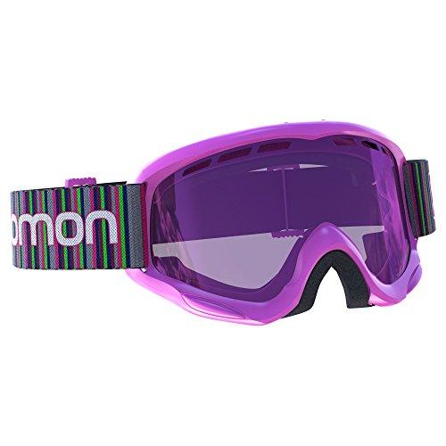 Salomon Juke Skibrille, für Kinder (6-12 Jahre), geeignet für Brillenträger, verschiedenste Wetterverhältnisse, rot-violette Multilayer-Scheibe (auswechselbar), Airflow System, pink, L39136900