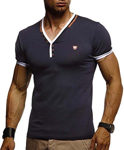 LEIF NELSON Herren Sommer T-Shirt V-Ausschnitt Slim Fit Baumwolle-Anteil | Moderner Männer T-Shirt V-Neck Hoodie-Sweatshirt Kurzarm lang | LN1330 Dunkel Blau X-Large -