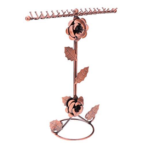 D DOLITY Schmuckaufbewahrung Zubehör Rose Blume Design Schmuck Ohrringe Halsketten Ohrhänger Ringe Verkaufsständer für Geschäfte Schmuck auf Countertops und Schaukasten Anzeigen - Bronze -