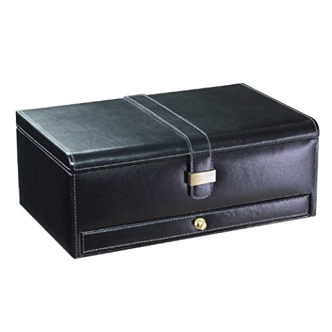 Dulwich Designs 'Heritage' Classic Premium Leather 20 Section Dulwich Design Watch Box, Executive Black with Grey Suedette Lining