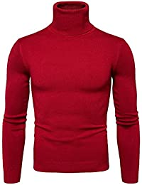 Pulls Basique Homme Pull à Col Roulé Chaud Pull en Maille Uni Jumper Manches Longues Chandails Casual Sweatshirt Slim Fit