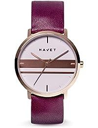 HAVET | Reloj de mujer Dyna de acero color oro rosa esfera malva con detalles en